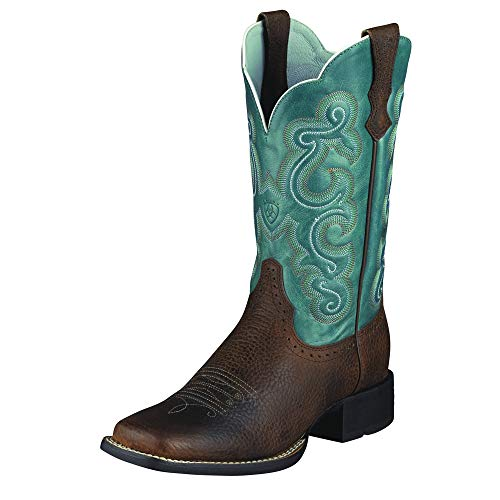 Ariat Women's Women's Quickdraw Western Boot, Brown Oiled Rowdy/Sapphire Blue, 9 C US