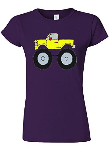 慣性土曜日テーブルTruck Big Wheels Giant Car Funny Novelty Purple Women T Shirt Top-M