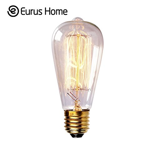 Eurus Home ST64 60W Vintage Antique Edison Style Incandescent Clear Glass Light Lamp Bulb (1 Pack) (60w Edison Tubular Light Bulb compare prices)