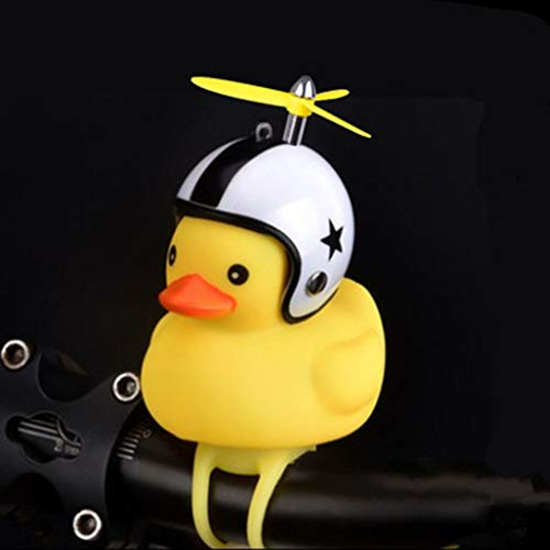 Flurries Safe Kids Bike Squeeze Horn, Bicycle Lights Bell, Lovely Cartoon Cute Duck Helmet Shape Propeller Handlebar Bell Lamp for Toddler Children Adults (C)