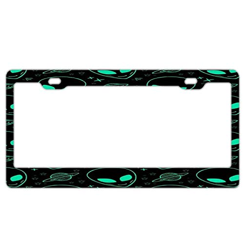 Zoomber Personalized Stainless Steel License Plate Frame Holder,Decorative License Plate Frame for Women Green Alien and Spacecraft