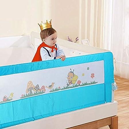 180cm * 68 cm. Barandilla de Cama Anti-Ca/ída Infantil Plegable Seguro Riel de Cama para Ni/ños Beb/é Blanco
