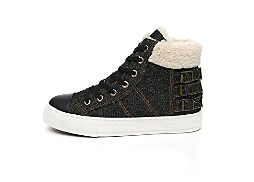 Casual Denim Canvas Shoes Fur Woman Winter Warm Plush Snow Boots Thick Shoes Women Tenis Feminino Large Size 44 Black 2 9 (2 Sims Jeans)