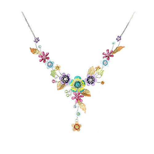 Glamorousky Flower and Butterfly Necklace with Multi-Color Austrian Element Crystals (986)