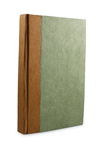 Nepalese Paper - Nepali Namaste Writing & Prayer Journal with Handmade Vintage Lokta Paper & Vegetable-Dyed Hardcover, Made in the Himalayas of Nepal, 6x9 inches, Sage
