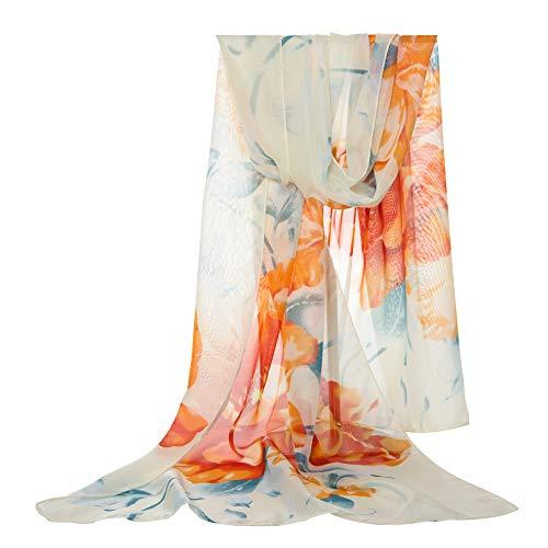 E-Clover Women Soft Floral Print Shawl Chiffon Sheer Scarf (BeigeYellow)
