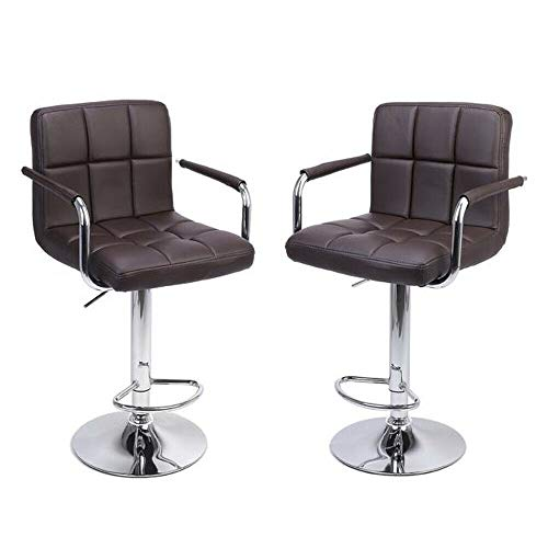Swivel Leather Chair 2 PCS Adjustable Bar PU Stools Office with Armrest Coffee