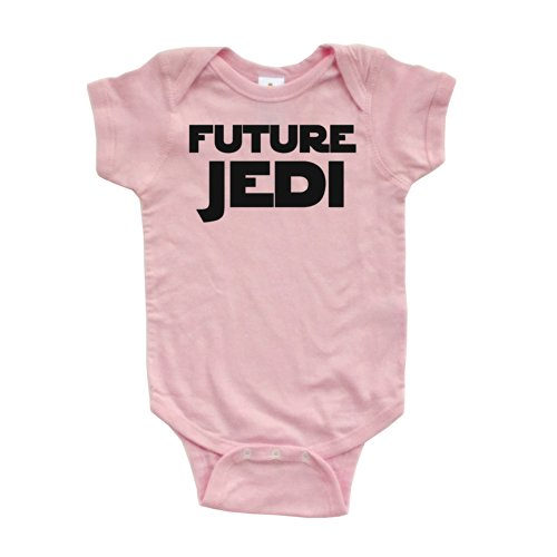 Apericots Adorable Future Jedi Soft and Comfy Cute Baby Short Sleeve Cotton Infant Bodysuit (6 Months, Pink) -