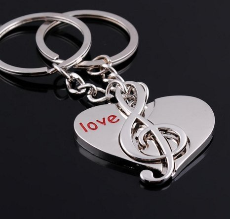 Bequa+ Love Heart Music Notes Symble Detachable Couple Keychain (With Gift Box) Best Key Ring Key Chain Giftd for Valentine Weding Anniversary (A Pair)