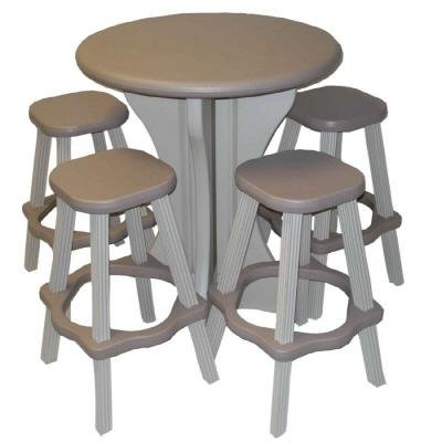 Accents Leisure - Leisure Accents Bistro Set, 30-Inch Round with 4 Stools, Gray/Beige