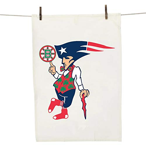 (Boston New England Sports Teams Dish Towel - Cool Novelty BBQ Kitchen Gift for Patriots Redsox Celtics and Bruins Fans! )