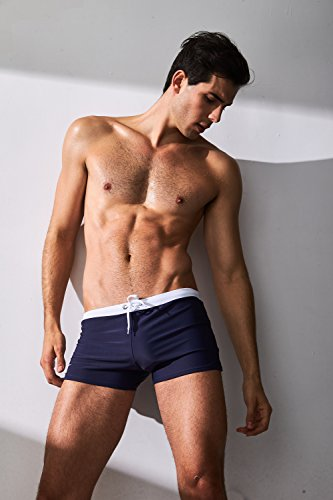 CAESER ARCHY Professional Men's Swimming Trunks Boxer Brief Swimsuit,Navy Blue,US M/Asia - Professional Trunks Swimming