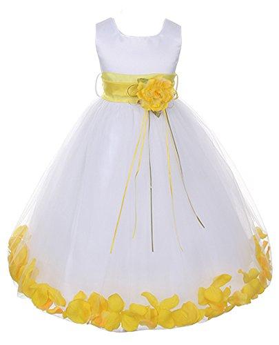 Beautiful Sleeveless Satin Petal Dress with Sash yellow/white size 12