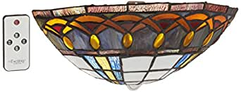 It's Exciting Lighting AMB1003 Ambience Wireless Wall Sconce, Half Moon Stained Glass, Battery Operated For Over 150 Hours of Lighting, No Electrical Outlet Required