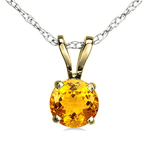Gold Round Citrine Pendant (10K Yellow Gold 7 mm Round Cut Citrine Ladies Solitaire Pendant (Silver Chain Included))