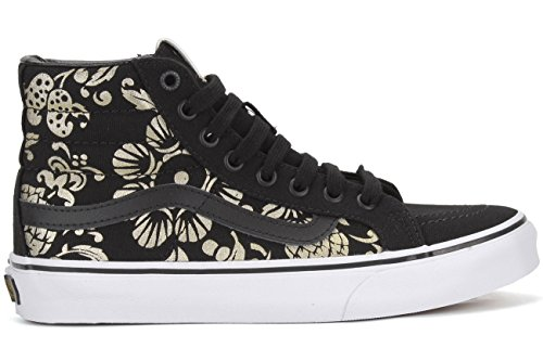 Vans Unisex Shoes SK8-Hi Slim Classic (50TH) Anniversary Black With Gold Sneakers (6.5 MENS /8 WOMENS) -