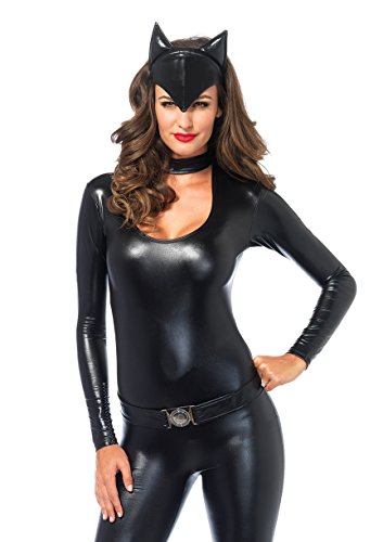 Leg Avenue Women's 3 Piece Frisky Feline Catsuit Costume, Black, (Cat Woman Costume)