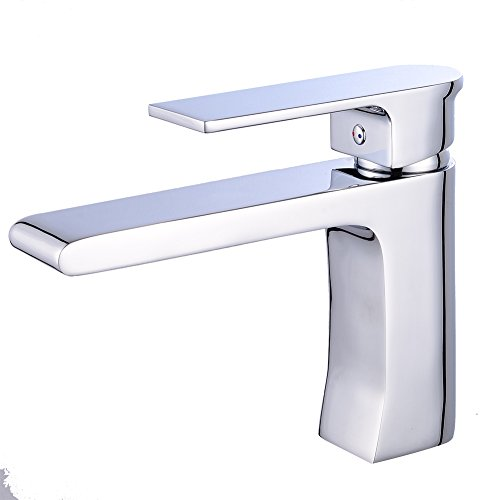 MissMin single handle contemporary bathroom sink faucet, Modern polished Chrome/silver vanity vessel sink faucets,one hole commercial water faucets for lavatory basin,short (Silver Single Handle)
