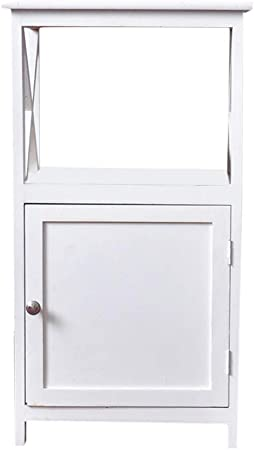 White wooden Cabinet with Drawer/&Door Unit Storage Cabinet Beside Table Bedroom