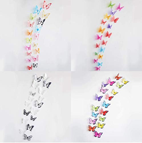 AristiPet Effect Crystal Butterflies Wall Sticker Beautiful Butterfly for Kids Room Wall Decals Home Decoration On The Wall (216 PCs) -
