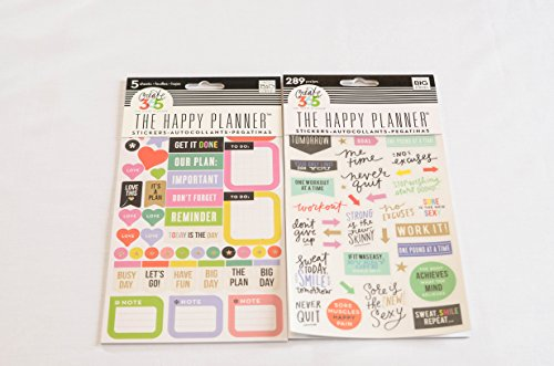 Combination Pack of me & my Big ideas the Happy Planner Everyday Reminders and the Happy Planner Fitness Pack Stickers