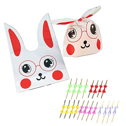 20Pcs of Children's Birthday, Halloween Candy, Gift Wrapping, Cute Rabbit Plastic Bag for Gifts, Candy, Small Toys, Chocolate, Ornaments, Hair Clips, Food, Biscuits (3) ()