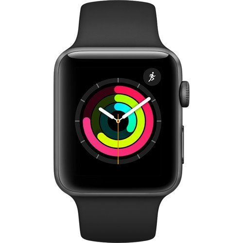 Apple Watch Series 3 42mm Smartwatch (GPS Only Space Gray Aluminum Case Black Sport Band) (Certified Refurbished)