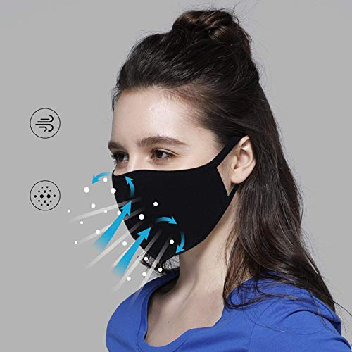 5 Pack Unisex, Washable And Reusable Face Shield With Elastic Ear Loop Cover Full Face Anti-Dust Black