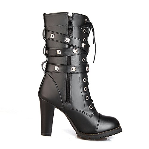 Platform Calf Women's Boots 6 Black Rivet Punk High amp;99 up Zipper Buckle Strap Odetina Sexy with Chunky Mid Heel Stud Lace v76dgSn