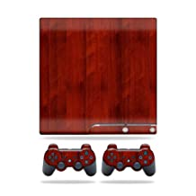 Mightyskins Protective Vinyl Skin Decal Cover for Sony Playstation 3 PS3 Slim skins + 2 Controller skins Sticker Cherry Wood