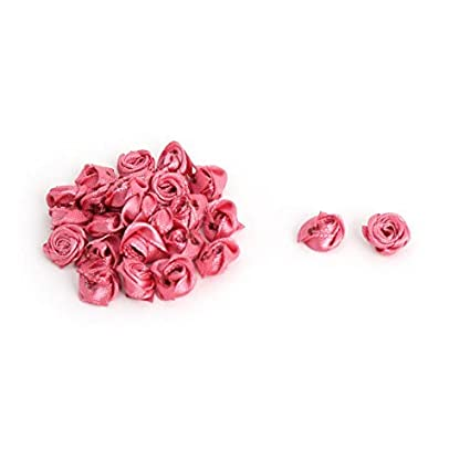 eDealMax Dark Pink Rose 20 PCS Raso hogar Señora Mini Vestido de la Flor Artificial decorativa
