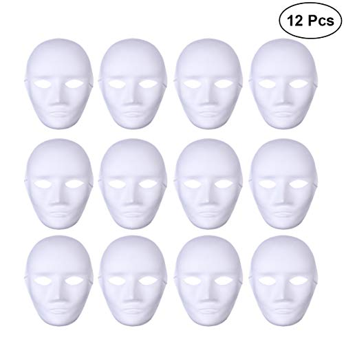 BESTOYARD 12pcs Male Full Face Halloween Costumes DIY Blank Painting Mask Halloween Hip-Hop Dance Ghost Cosplay Fancy Dress Masquerade Party -