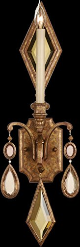 Fine Art Lamps 728850-1, Encased Gems Candle Crystal Wall Sconce Lighting, 1 Light, 60 Watts, Gold