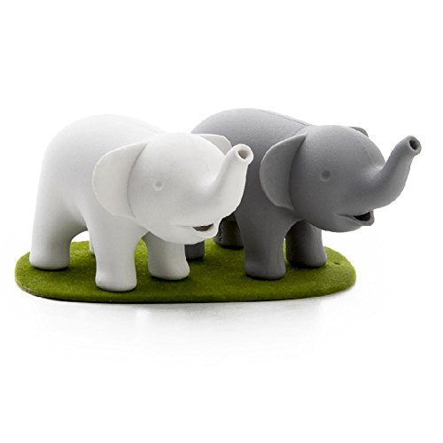Cool Salt and Pepper Shakers Duo Elephant by Qualy Design Studio. White and Grey Shakers and Green Magnetic Stand Base. Cool Kitchenware. Will Make Unique Gift to Cooking Lovers.