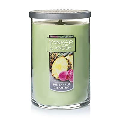 Yankee Candle Large 2-Wick Tumbler Candle, Pineapple Cilantro - Give yourself up to the aroma of fresh island pineapple served with a citrusy touch of cilantro and sweet coconut Premium-grade wax that delivers a clean, consistent burn 75-110 hours burn time - living-room-decor, living-room, candles - 41GVi6wNNAL. SS400  -