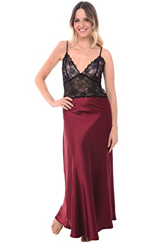 Classic Silk Chemise (Alexander Del Rossa Womens Satin Nightgown, Full Length Camisole Chemise with Lace, Small Burgundy (A0780BRGSM))