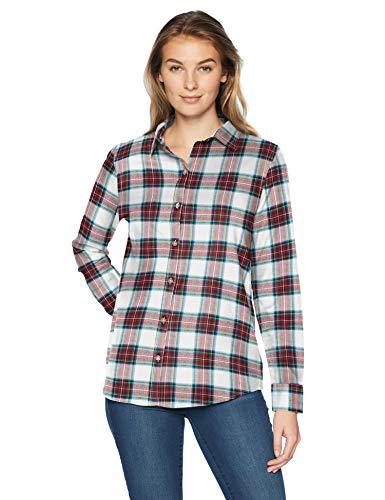 Amazon Essentials Women's Long-Sleeve Classic-Fit Lightweight Plaid Flannel Shirt Shirt, -white tartan, X-Small