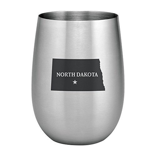 Supreme 18/8 Stainless Steel North Dakota State 20 oz. Stemless Wine Glass, Unbreakable and Shatterproof Metal for Wine, Beverage, Champagne, Cocktails and Beer