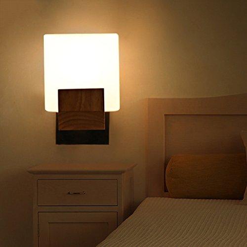 DIDIDD Lámpara de pared-espejo de madera maciza, lámpara de pared moderna simple de la sala de estar, lámpara de cabecera...