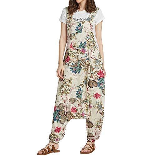 Vintage Tank Bib (Linen Jumpsuit Women Vintage Print Bohe Loose Bib Pants Cotton Overalls Rompers Beige)