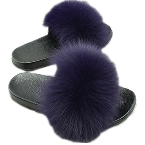 Women Real Fox Fur Feather Vegan Leather Open Toe Single Strap Slip On Sandals Multicolor (6, Dark Purple)
