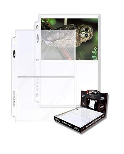 BCW Protective Pages Crystal Clear for Photographs or Postcards | 2-Pocket Page | Pocket Size 5 ½