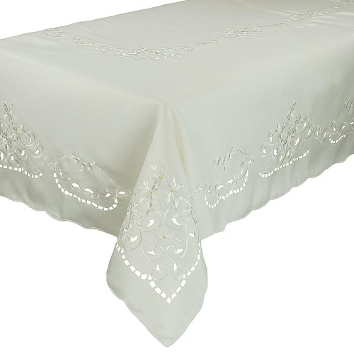 Xia Home Fashions Daisy Collection Embroidered Cutwork Tablecloth, 70-Inch by 144-Inch, White by Xia Home Fashions