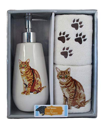 (Pet Lovers 3 Piece Gift Set Featuring Dogs and Cats - Ceramic Lotion/Soap Dispenser Bottle and 2 Fingertip Towels (Orange Tabby Cat))