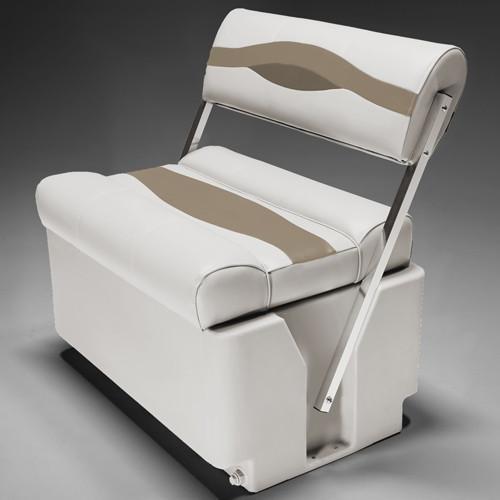 DeckMate Premium Pontoon Flip Flop Seats (Ivory/Tan/Beige) (Pontoon Premium Furniture)