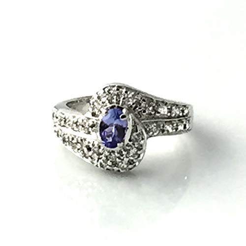 Sz 7.25, GENUINE TANZANITE Blue/Lavender Round-Brilliant Cut Gemstone and Cubic Zirconia, 925 Sterling Silver Casting Style Engagement Ring Jewelry.