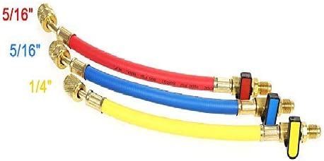 Pack of 3 LIYYOO Refrigerant Charging Hose with Ball Valve Apply to R134A R12 R22 R502 R404 Refrigerant Air Conditioning Manifold Gauge 1//4 Thread Hose Set 60 Red//Yellow//Blue