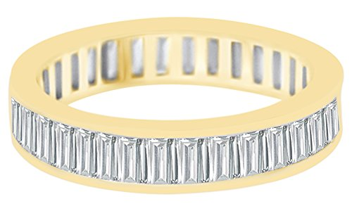 AFFY Christmas Holiday Sale Baguette Shape White Cubic Zirconia Eternity Wedding Band Ring in 14k Yellow Gold Over Sterling Silver Ring Size-7