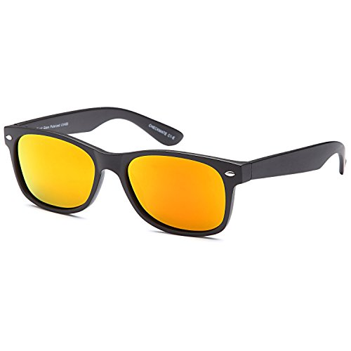 Gamma Ray Polarized UV400 Classic Style Sunglasses with Mirror Lens, Matte Black Frame Orange Mirror Lens