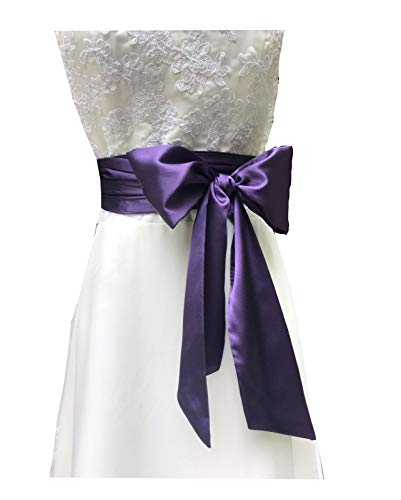 Eyrie Special Occasion Dress sash Bridal Belts Wedding sash 4'' Wide Double Side (Grape)